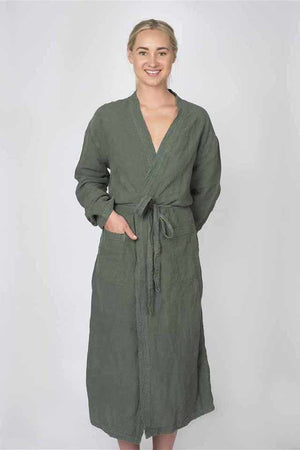 Light Gray The Linen Robe - Khaki Khaki / OSFA