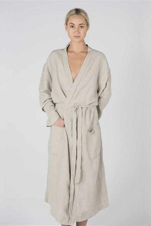 Light Gray The Linen Robe - Natural Natural / OSFA