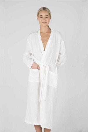 Light Gray The Linen Robe - White White / OSFA