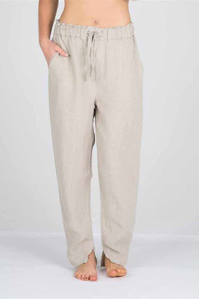 Light Gray The Linen Lounge Pants - Natural Natural / S/M,Natural / M/L,Natural / XL