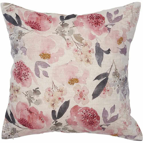 posy cushion rose floral print linen hand french knotting feather insert square by eadie lifestyle