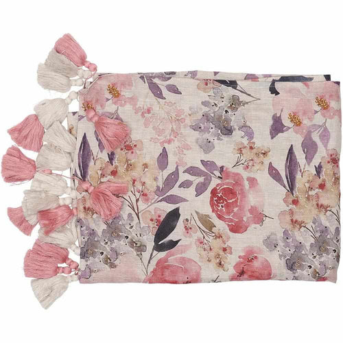 posy throw rose floral print linen hand deluxe tassels by eadie lifestyle