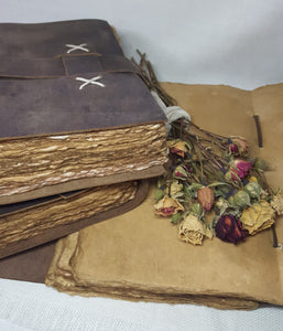Leather Bound Journal with Handmade Paper - 17cm x 24cm - (L-CROSS-0004)