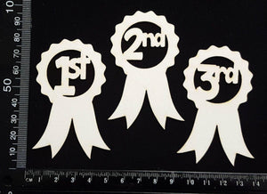 1st 2nd 3rd Place Ribbons Set - White Chipboard