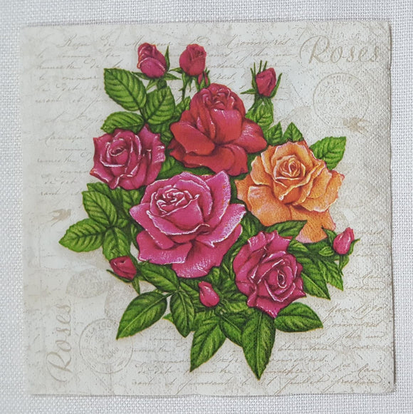 Decoupage Napkin - (DN-8015) - Postcard with Roses