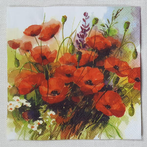 Decoupage Napkin - Wild Poppies - (DN-8040)