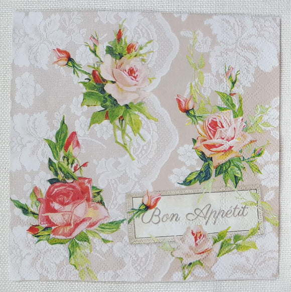 Decoupage Napkin - Roses On Lace - (DN-8073)