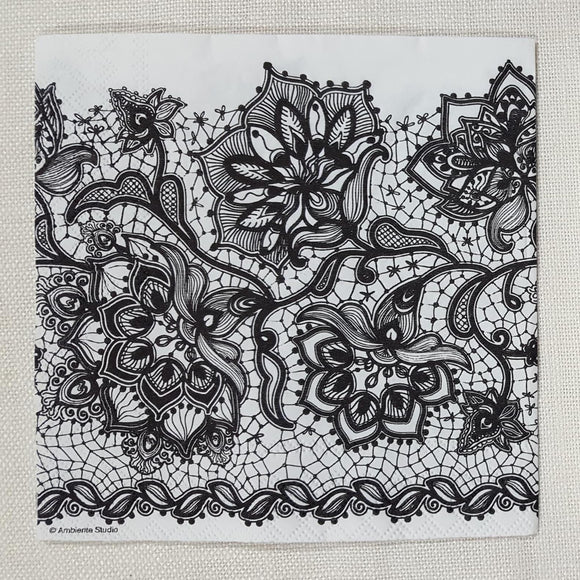 Decoupage Napkin - Gloria - Black - (DN-8075)