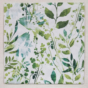 Decoupage Napkin - (DN-8139) - Boho Leaves & Herbs -Green