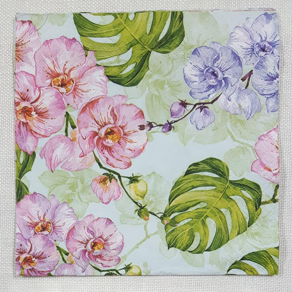 Decoupage Napkin - (DN-8189) - Wild Orchid with Monstera