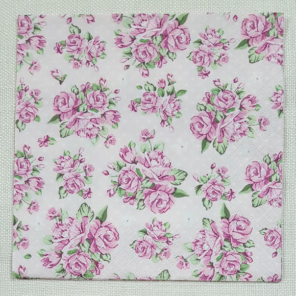 Decoupage Napkin - (DN-8190) - Rose on Pink Background