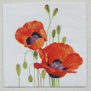 Decoupage Cocktail Napkin - (DN-8207) - Poppies