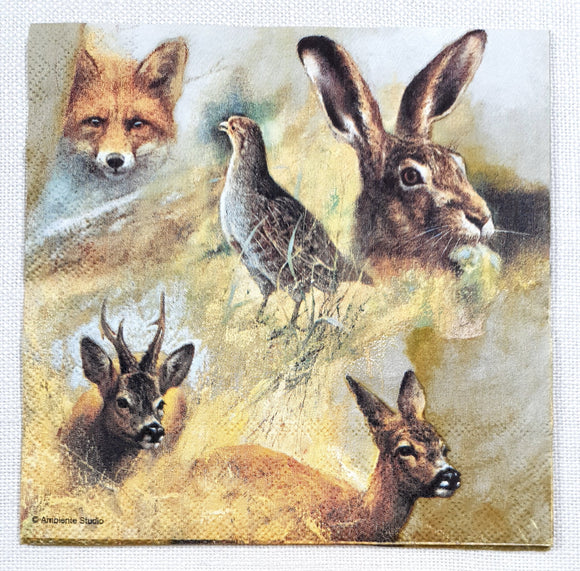 Decoupage Napkin - (DN-8278) - Wild Animals Collage