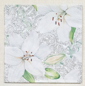 Decoupage Napkin - (DN-8293) - White Lily with Ribbon