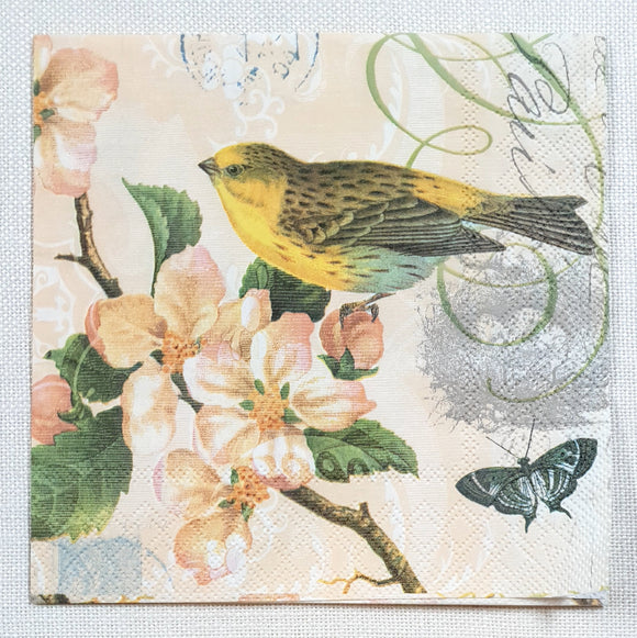Decoupage Napkin - (DN-8305) - Bird And Blossom