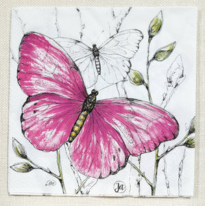 Decoupage Napkin - (DN-8379) - Colourful Butterflies - Pink