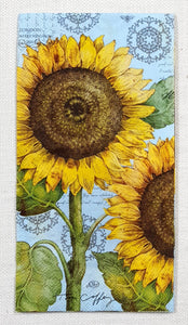 Decoupage Buffet Napkin - (DN-8564) - Botanical Sunflower - Light Blue