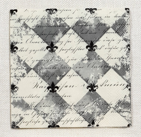 Decoupage Cocktail Napkin - (DN-8598) - French Fleur de lis - Black