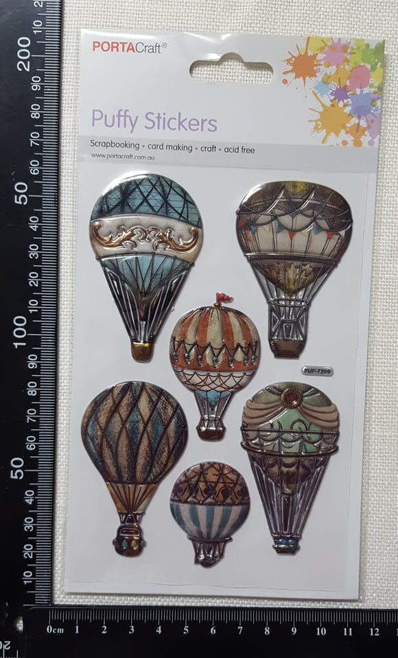 Embossed Stickers - Hot Air Balloons - (ES-1016)