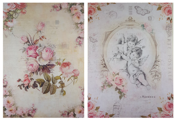 Decoupage Paper - A4 size - 4 sheets - AY - Fairy Blossom