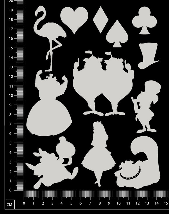Alice in wonderland Set - Small - White Chipboard