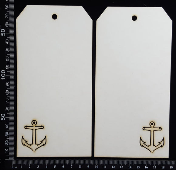 Anchor Tag Set - Large - A - White Chipboard