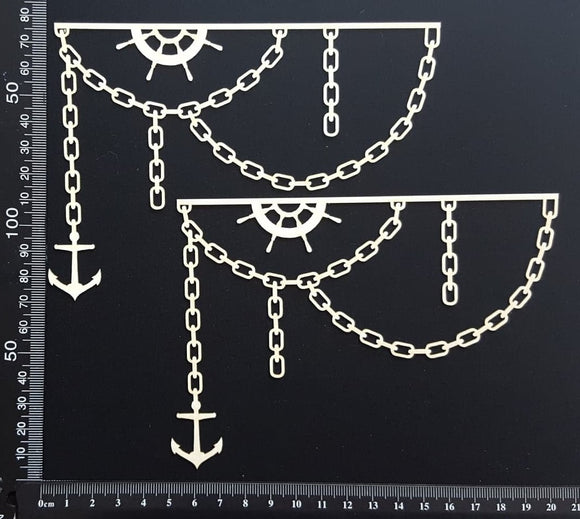 Anchor and Chain Borders Set - White Chipboard