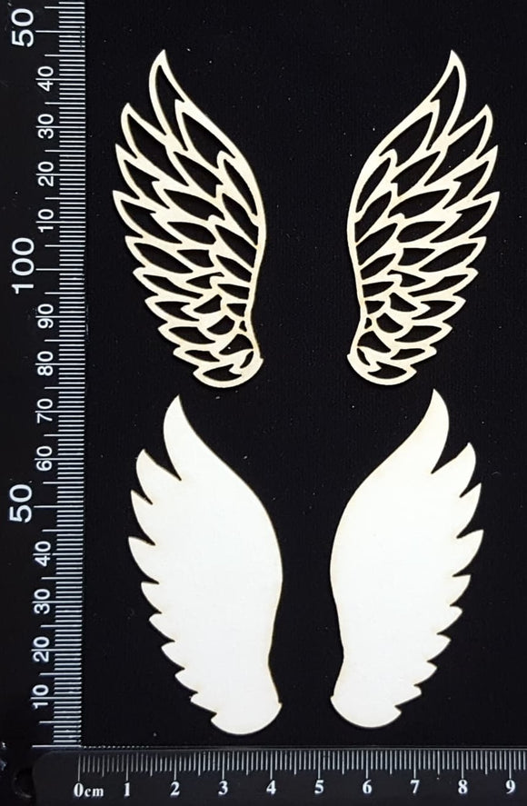 Angel Wings Set - C - Layering Set - White Chipboard