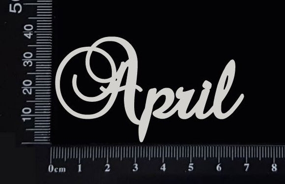 Elegant Word - April - White Chipboard