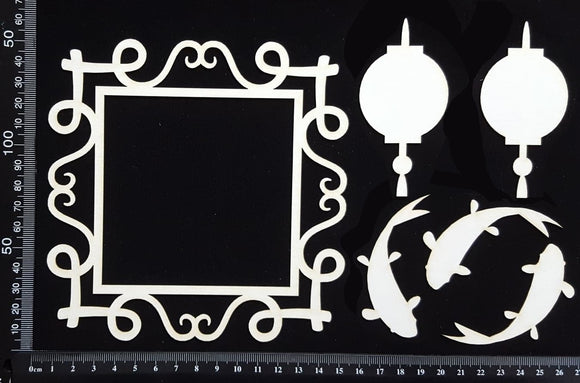 Asia Elements and Frame Set - D - White Chipboard