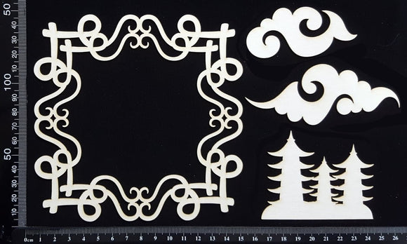 Asia Elements and Frame Set - E - White Chipboard