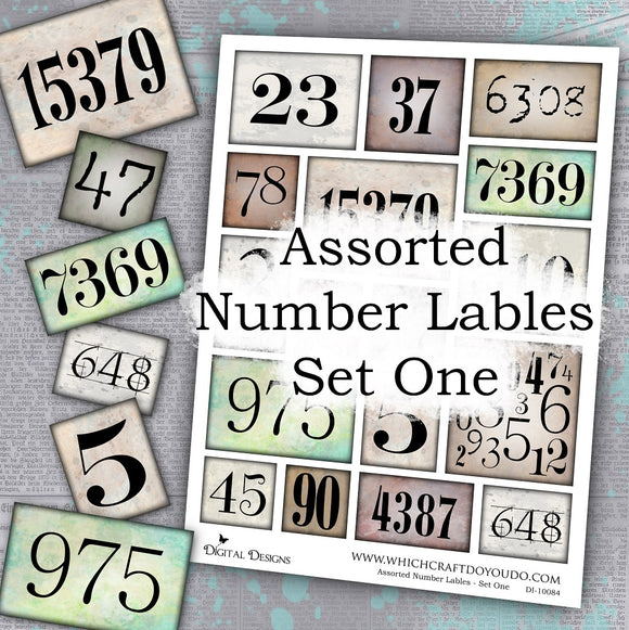 Assorted Number Lables - Set One - DI-10084 - Digital Download