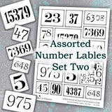 Assorted Number Lables - Set Two - DI-10085 - Digital Download