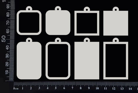 Assorted Square & Rectangle Charms - White Chipboard