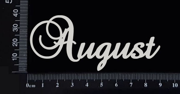 Elegant Word - August - White Chipboard