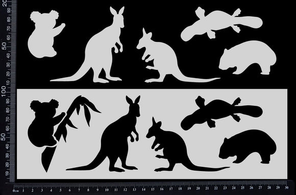 Australian Animals - A - Stencil - 100mm x 300mm