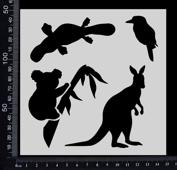 Australian Animals - B - Stencil - 150mm x 150mm