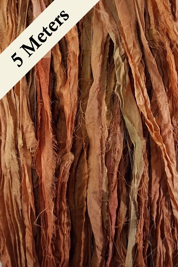 Reclaimed Sari Silk Ribbon - Autumn - 5m Pack