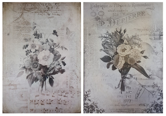 Decoupage Paper - A4 size - 4 sheets - BB - Melody Blooms