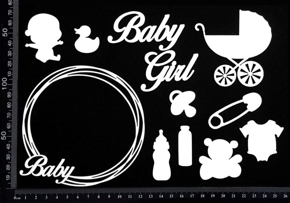 Baby Elements - Set B - Girl - White Chipboard