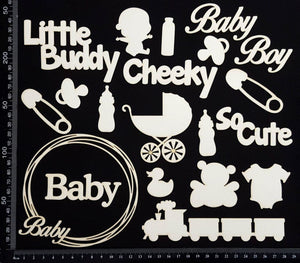 Baby Elements - Set C - Boy - White Chipboard
