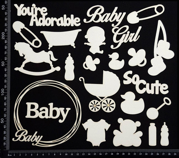 Baby Elements - Set D - Girl - White Chipboard