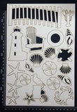 Beach Elements Set - A - White Chipboard