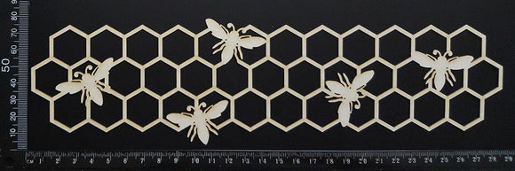Bee and Honeycomb Border - A - Large - White Chipboard