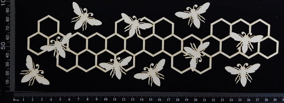 Bee and Honeycomb Border - B - Large - White Chipboard