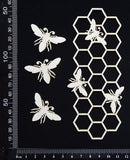 Bee and Honeycomb Border - C - Small - White Chipboard