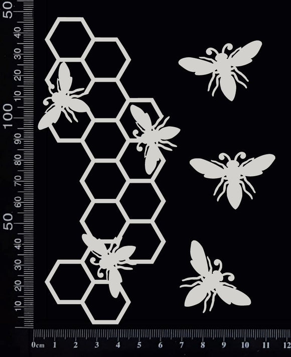 Bee and Honeycomb Border - D - Small - White Chipboard
