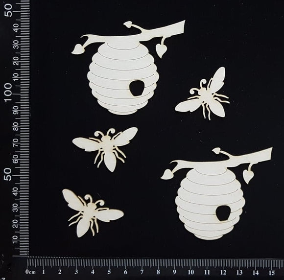 Bees and Hive Set - B - White Chipboard