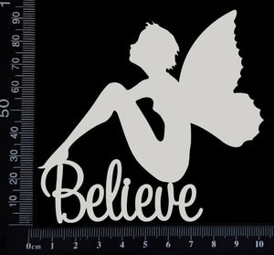 Fairy Title - Believe - A - White Chipboard