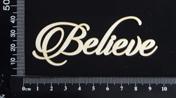 Sandscript Word - Believe - White Chipboard